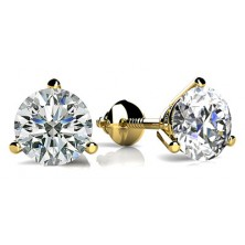 Forever Solitaire Diamond Earring Studs In 3 Prong set Round Brilliant Diamonds.